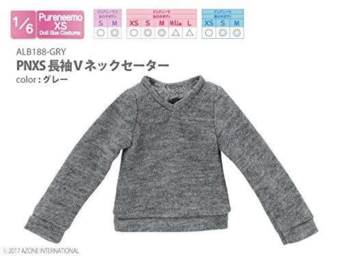 Doll Clothes - Pureneemo Original Costume - PureNeemo XS Size Costume - Long Sleeve V-neck Sweater - 1/6 - Gray (Azone)