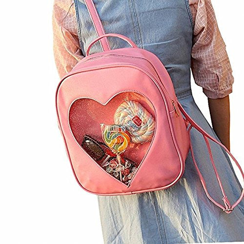 Image 2 for Ita Bag - Clear Heart Backpack - Akssweet - Pink
