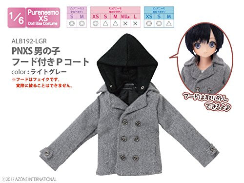 Doll Clothes - Pureneemo Original Costume - PureNeemo XS Size Costume - Boys Hooded P Coat - 1/6 - Light Gray (Azone)