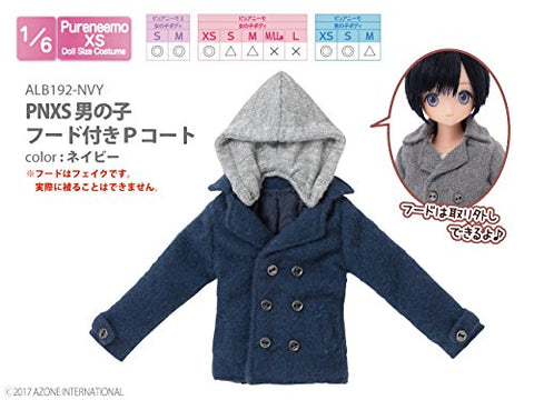 Doll Clothes - Pureneemo Original Costume - PureNeemo XS Size Costume - Boys Hooded P Coat - 1/6 - Navy (Azone)