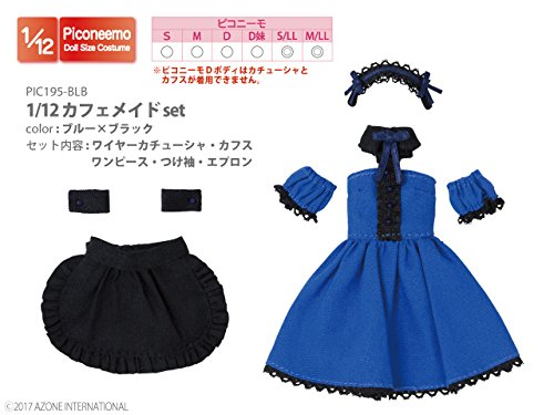 Doll Clothes - Picconeemo Costume - Cafe Maid Set - 1/12 - Blue x Black (Azone)