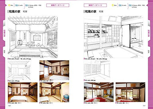 Image 2 for Digital Scenery Catalogue - Manga Drawing - Buildings and Rooms - Incl. CD