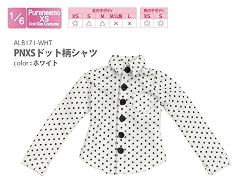 Doll Clothes - Pureneemo Original Costume - PureNeemo XS Size Costume - Dot Pattern Shirt - 1/6 - White (Azone)