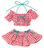Doll Clothes - Pureneemo Original Costume - PureNeemo S Size Costume - Gingham Check Puff Sleeve Bikini Set - 1/6 - Red Plaid (Azone) - 1