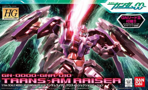 Image 1 for Kidou Senshi Gundam 00 - GN-0000 + GNR-010 00 Raiser - HG00 #42 - 1/144 - Trans-Am Mode, Gloss Injection Ver. (Bandai)