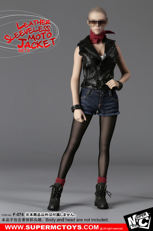 1/6 Female Leather Sleeveless Moto Jacket Set