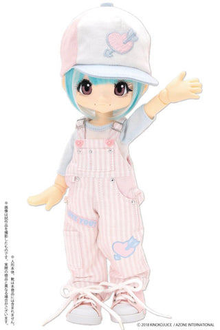 Kinoko Planet - Doll Clothes - KIKIPOP! - Hatsukoi Otome Overalls Set - Pink x Light Blue (Azone)