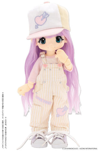 KIKIPOP! - Kinoko Planet - Doll Clothes - Hatsukoi Otome Overalls Set - Yellow x Purple (Azone)