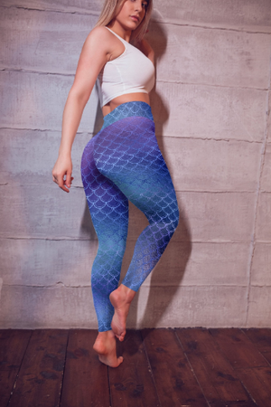 Blue Mermaid Highwaist leggings, Capris and Shorts - nuyubodysculpting.myshopify.com