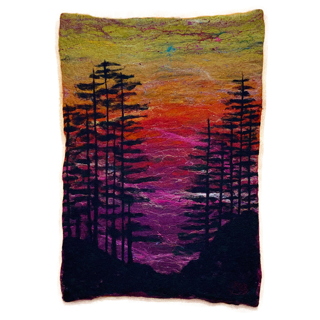 Silhouette Sunset Wall Hanging - Sold