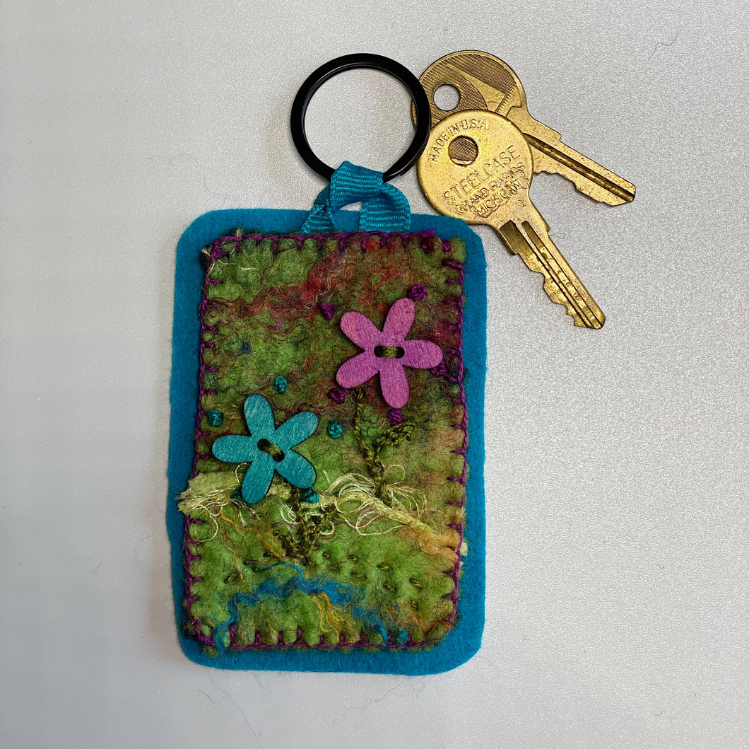 Felted Embroidered Key Chain - Wood Flowers