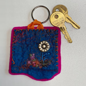 Felted Embroidered Key Chain - Silver Daisy
