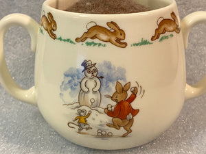 Bunnykins Up cycled Felted Double Handle Ceramic Mug
