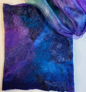 original hand-dyed Margilan silk with the full size of the fine felted tube