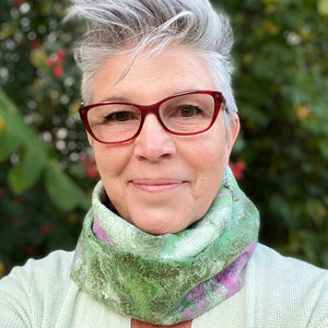 Fine Felted Cowl Head Wrap - Garden Delight