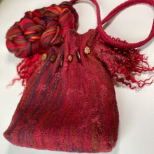 Load image into Gallery viewer, Original merino wool blend used for the outside. Silk red throwsters as embellisment.