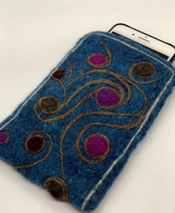 Needle felted phone or large eyeglass case