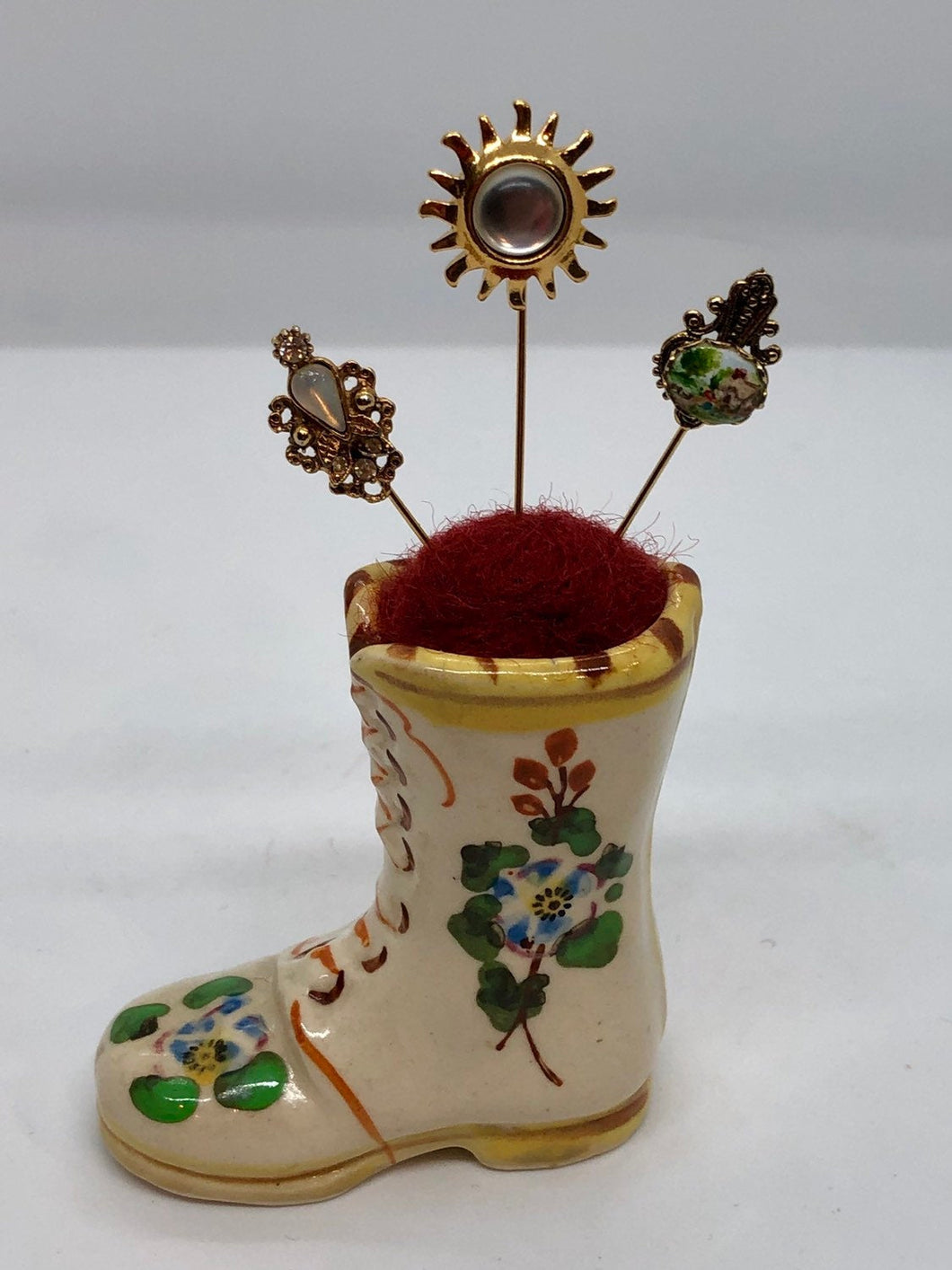 Vintage Miniature Ceramic Boot Repurposed as a Pincushion