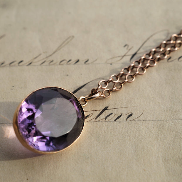 Pretty Amethyst Solitaire Necklace