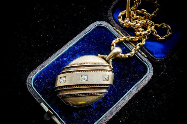 Victorian 15k Gold Diamond Locket and Chain