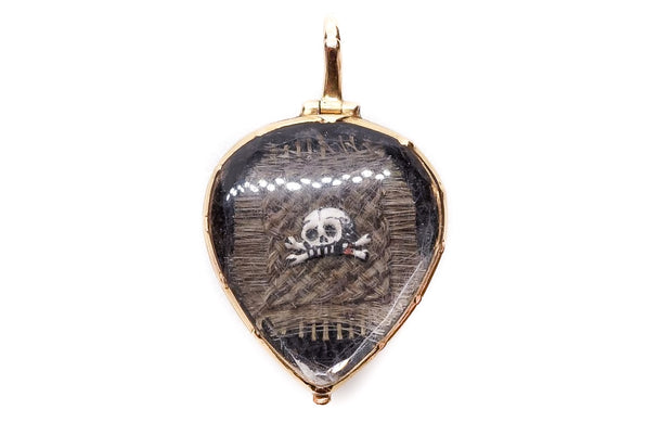 Memento Mori Gold Heart with Enamel Skull