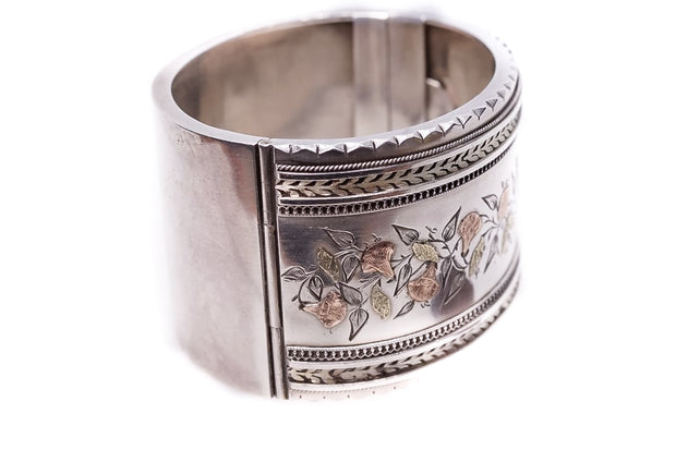 Silver and Gold Wide Cuff Bangle