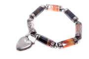 Scottish Silver Agate Heart Padlock Bracelet