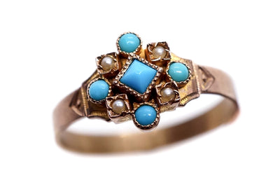 Pretty Victorian Turquoise and Pearl Ring