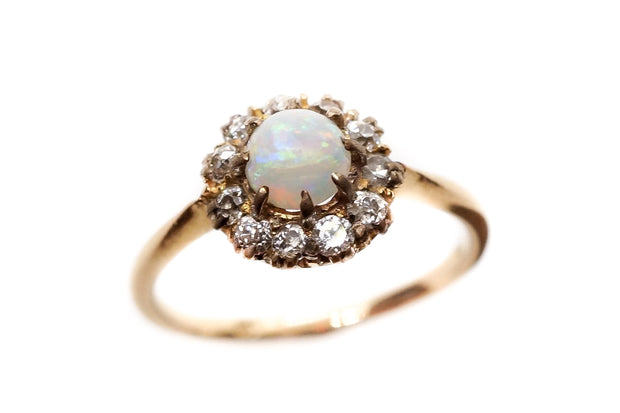Antique English Opal and Diamond Cluster Ring
