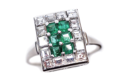 Art Deco Asscher Cut Diamond and Emerald Ring