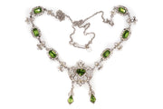 Foiled Peridot and Clear Paste Necklace