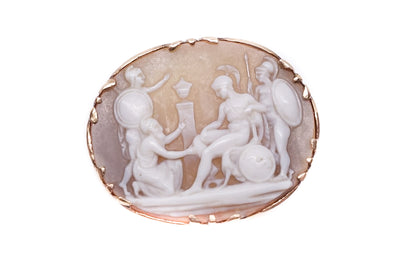 9k Gold Priam & Achilles Cameo Brooch