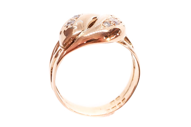 18k Gold Diamond Entwined Snakes Ring
