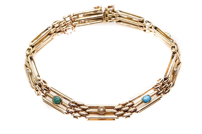 Turquoise and Pearl Gate Bracelet