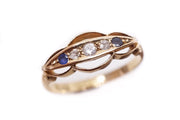 18k Gold Sapphire and Diamond 5 Stone Ring