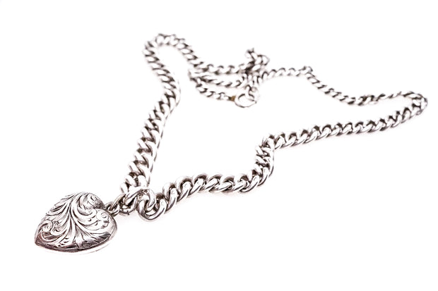 Victorian Curb Link Albert and Heart Locket