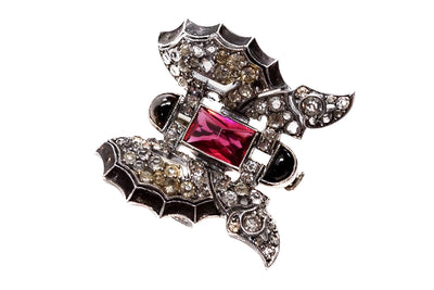 Art Deco Geometric Butterfly Brooch