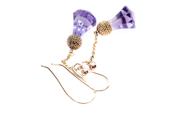 Scottish Thistle Amethyst Drop Earrings