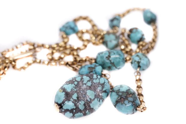 9k Gold Turquoise Matrix Necklace