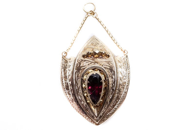 15k Gold Garnet Shield Pendant