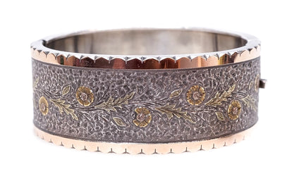 Silver and 3 Color Gold Bangle
