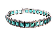 Silver Emerald and Diamond Paste Bracelet