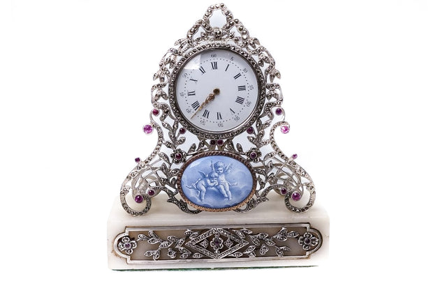 Silver Marble Marcasite and Ruby Boudoir Clock