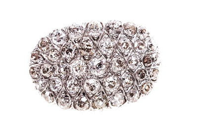 18k Gold and Platinum Pave Set Diamond Cluster Ring