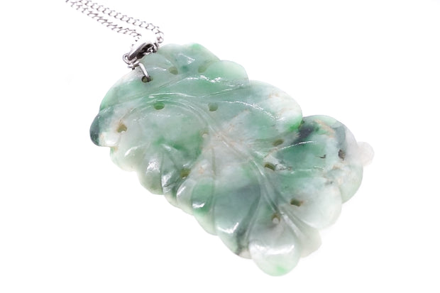 Carved Floral Jade Pendant and Chain