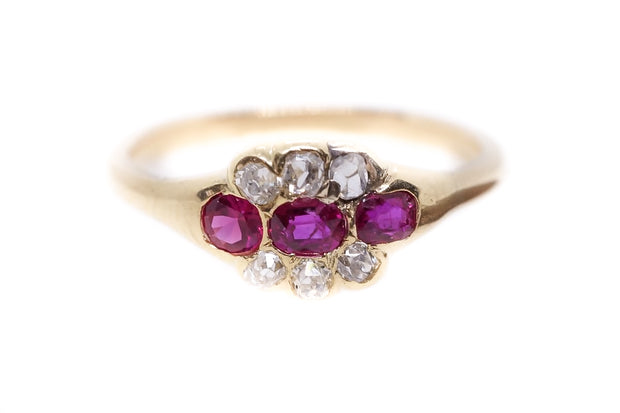 18k Gold Ruby and Diamond Cluster Ring