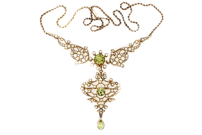 Peridot Pearl Pendant Brooch Necklace