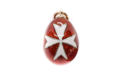 Enamel Maltese Cross Egg Pendant
