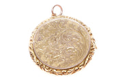 9k Gold Engraved Circular Locket