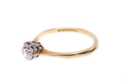 18k Gold and Platinum Old Cut Diamond Engagement Ring